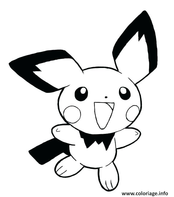 Printable Pichu coloring page for both aldults and kids. | 655x578