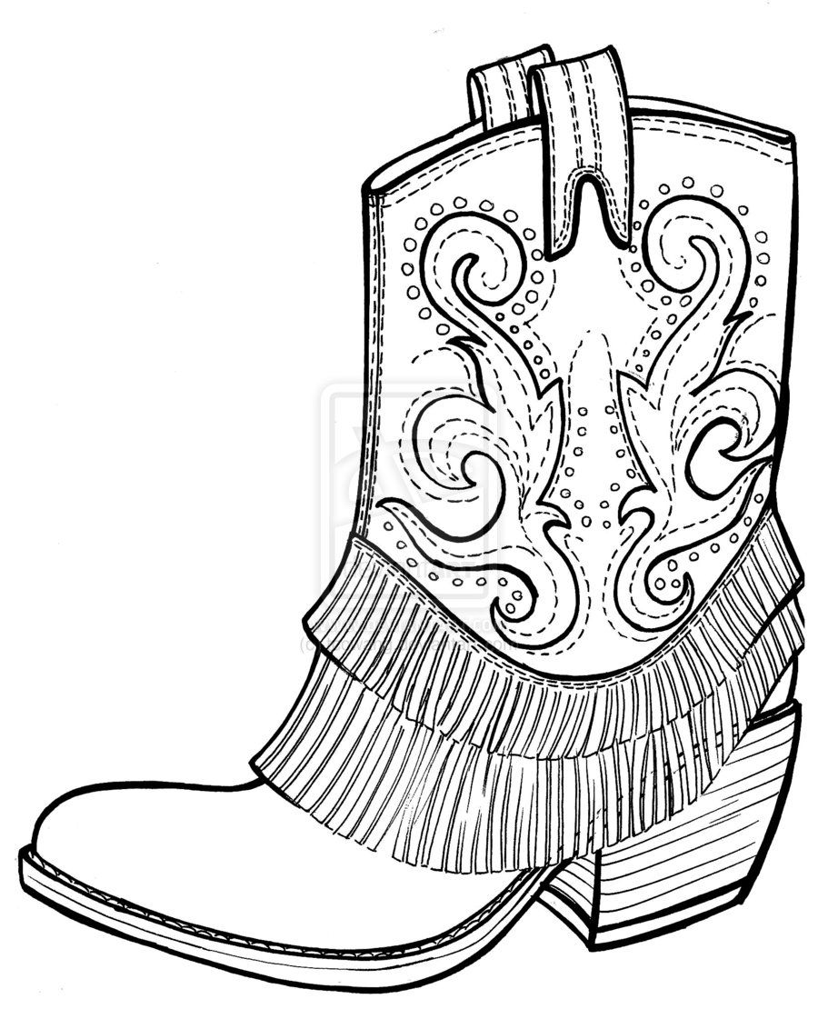 900x1121 Cowboy Boots Coloring Pages Hoedown County Fair