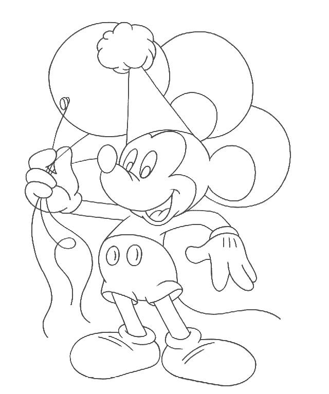 640x767 Mickey Mouse Balloon Coloring Pages
