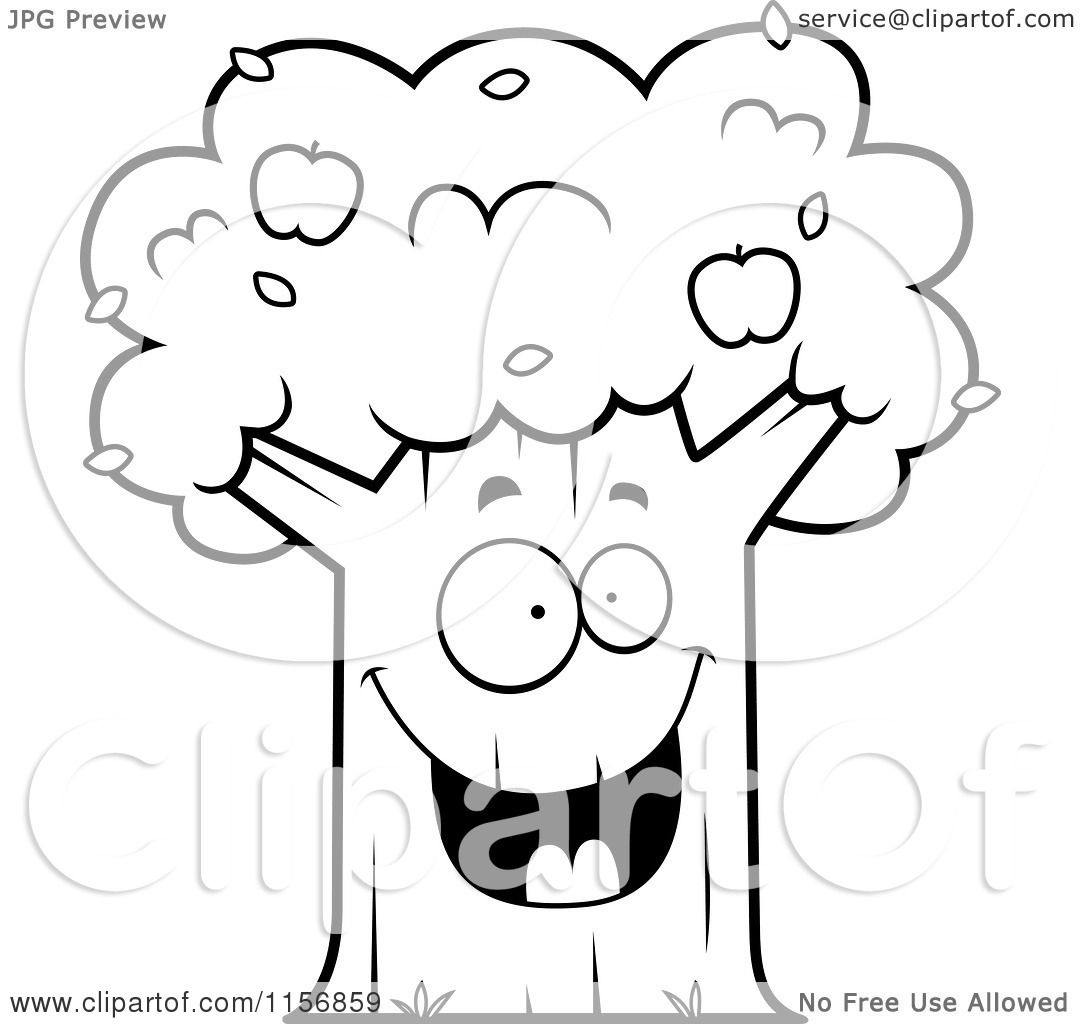 1080x1024 Cartoon Clipart Of A Black And White Happy Apple Tree