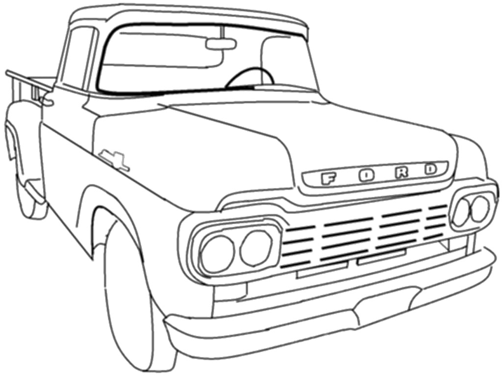 1024x768 Amazing Of Extraordinary Coloring Pages Pickup Truck