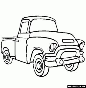 294x300 Coloring Pages Trucks Pickup Truck Printable Benjamin