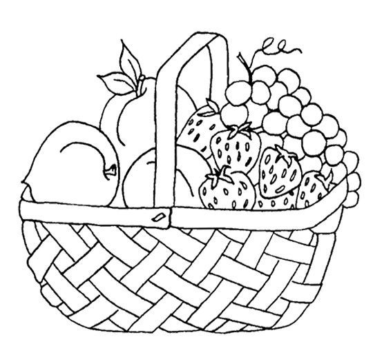540x502 Basket Of Fruits Coloring Pages With Strawberry And Other Fruit