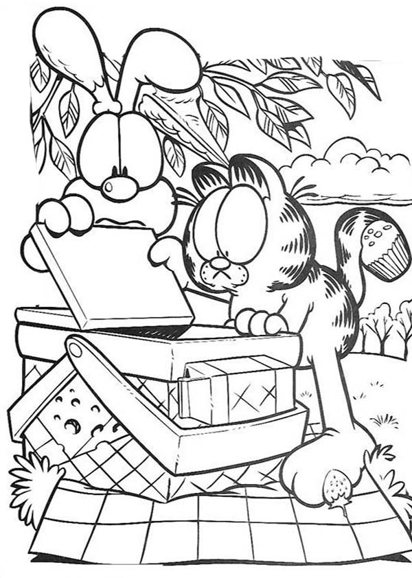 600x842 Garfield And Oddie Open Picnic Basket Coloring Page