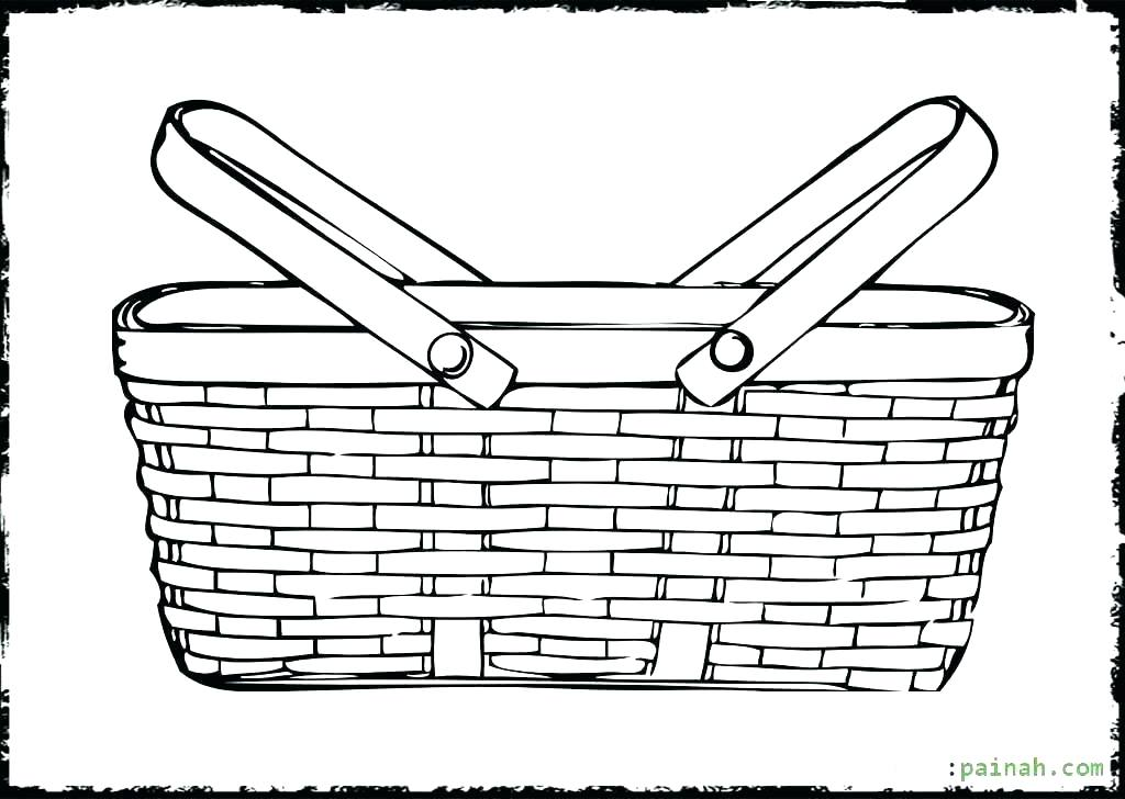 1024x728 Basket Coloring Page Bunnies Bunny With A Basket Of Eggs Coloring