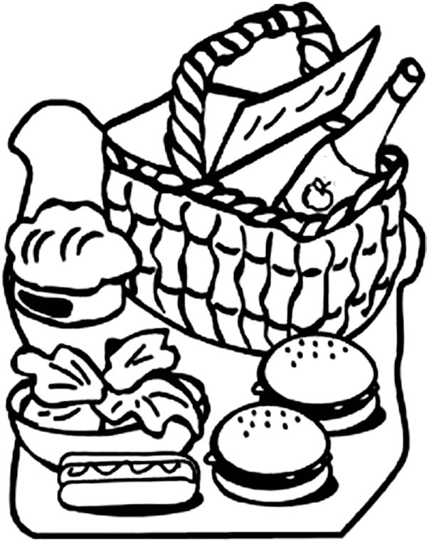 600x763 Picnic Basket Full Of Food Coloring Page