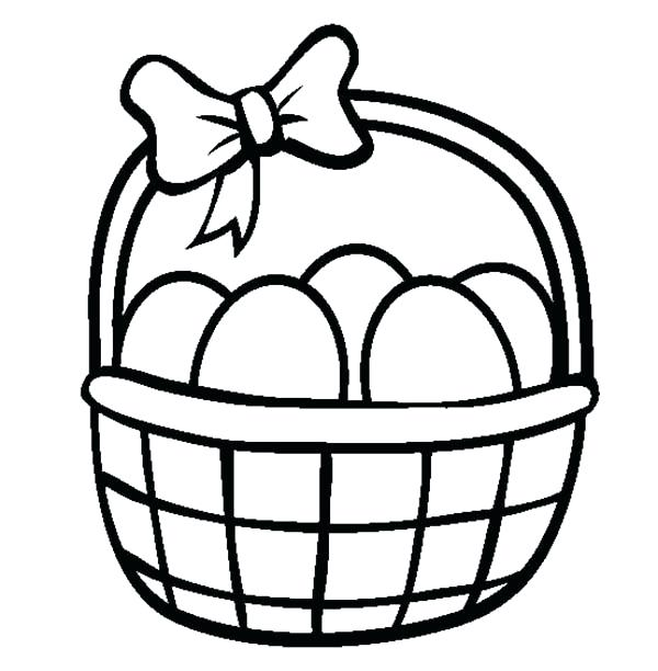 600x612 Basket Coloring Page Egg Basket Coloring Page Free Printable