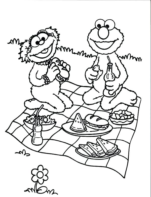 600x783 Picnic Coloring Pages Relaxing And Eating In Picnic Coloring Page