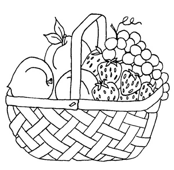600x587 Strawberry And Other Fruit In The Basket Coloring Page