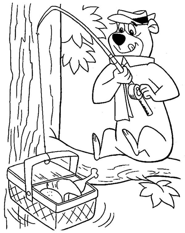 600x755 Yogi Bear Fishing Picnic Basket Coloring Pages Batch Coloring