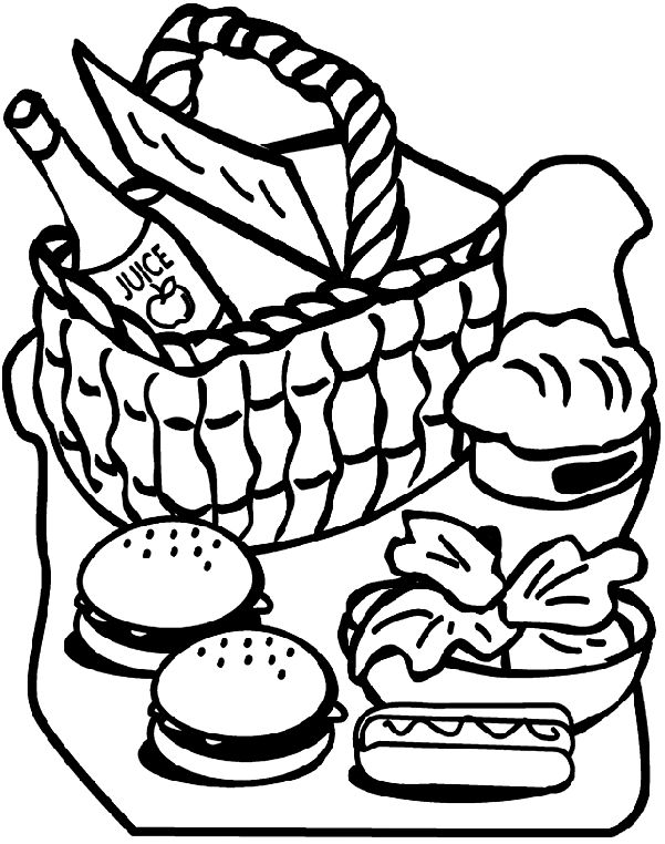 Picnic Blanket Coloring Pages