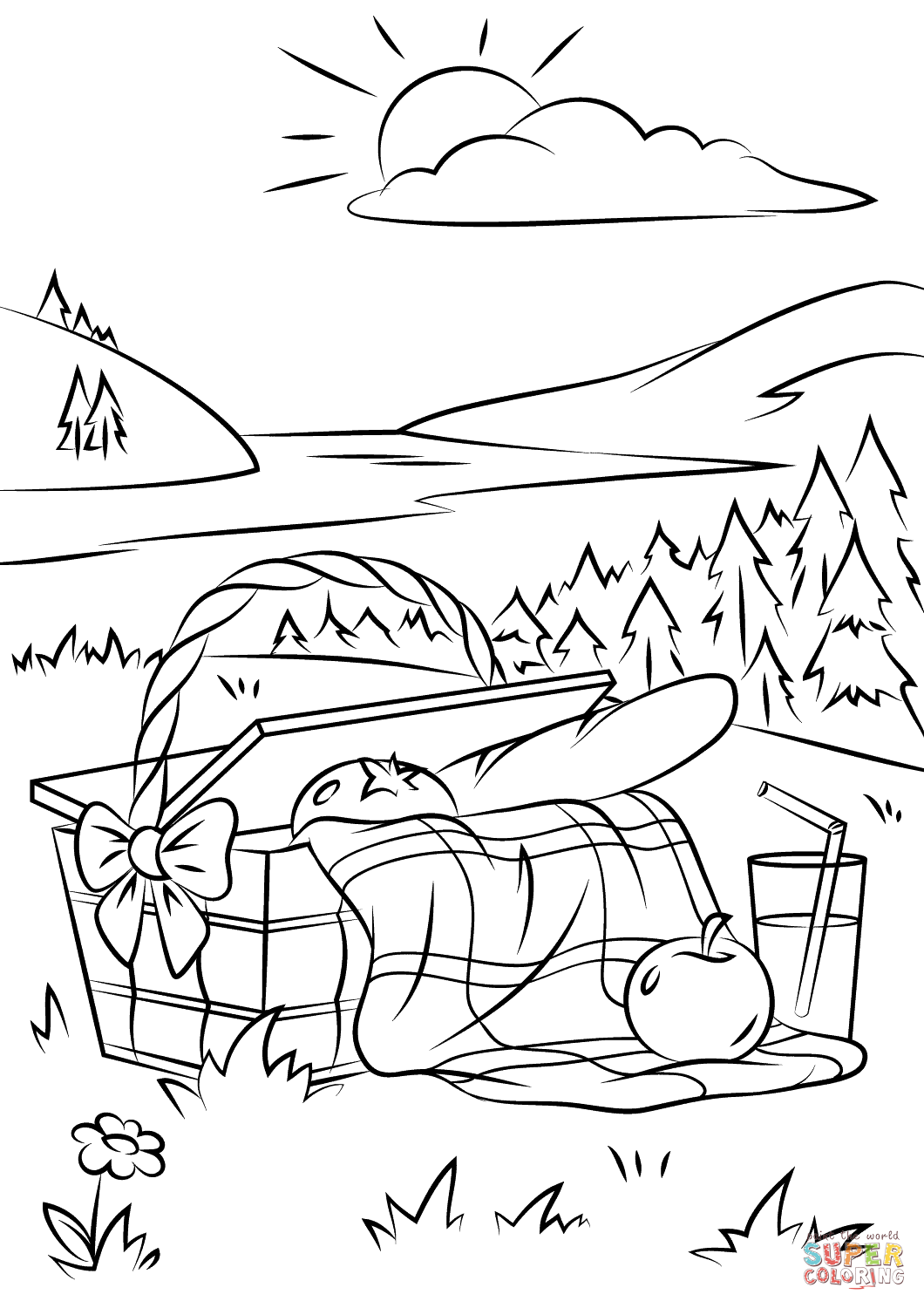 1060x1500 Picnic Basket Coloring Page Free Printable Pages Best Color