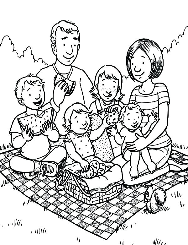 600x780 Picnic Coloring Page Family Holiday Picnic Coloring Pages Picnic