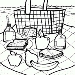 300x300 Picnic Coloring Pages