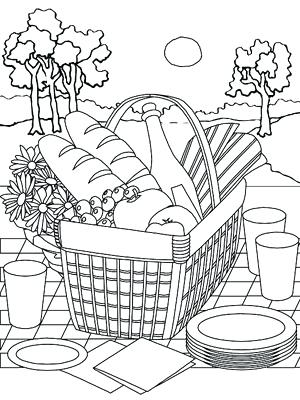 300x400 Picnic Coloring Pages Printable Summer Coloring Pages Picnic