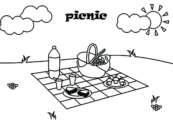600x420 Picnic Coloring Pages