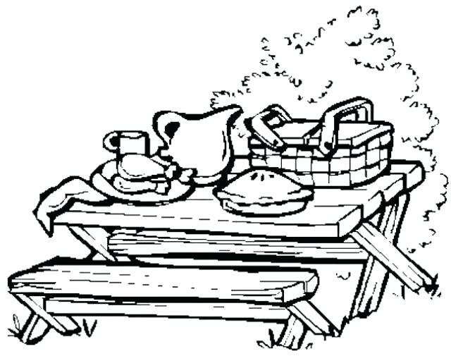 640x505 Picnic Coloring Pages Picnic Table Coloring Page Picnic Basket