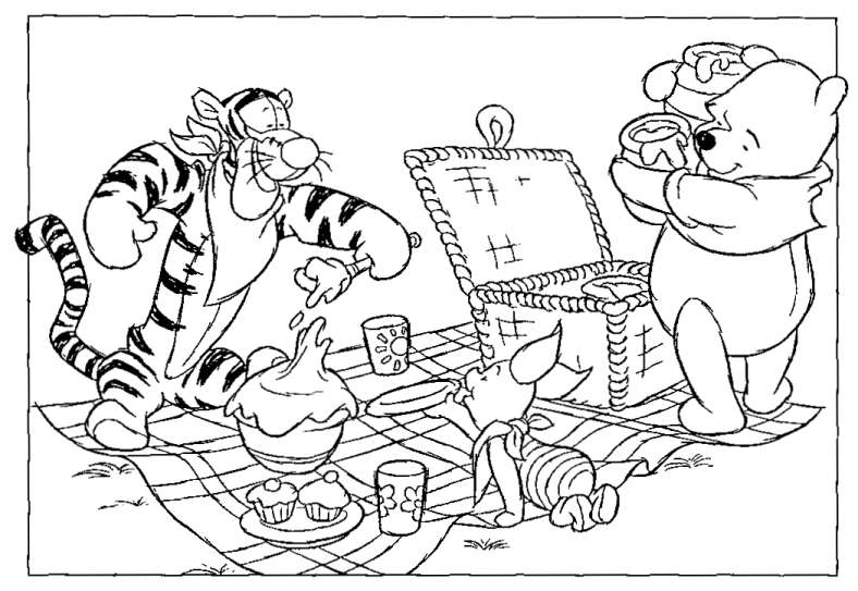 788x543 Pooh And Friends Having Picnic Coloring Page Animal Pages