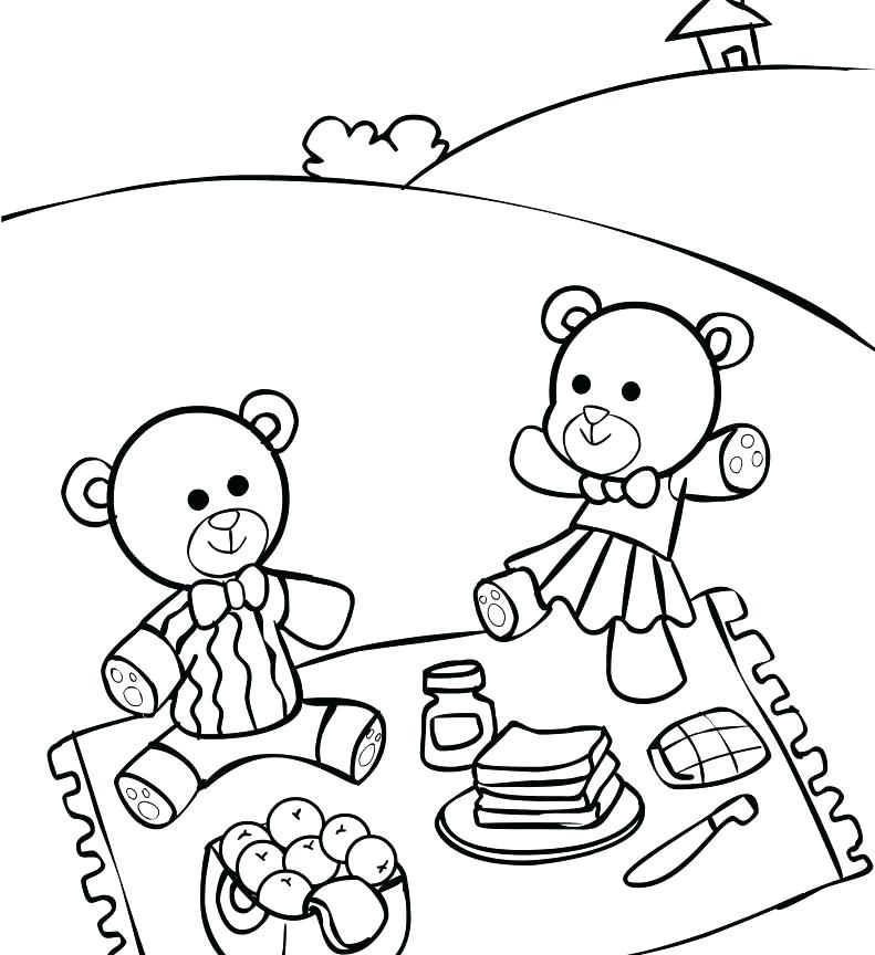 791x864 Picnic Coloring Page Teddy Bears Picnic Colouring Page Picnic Food