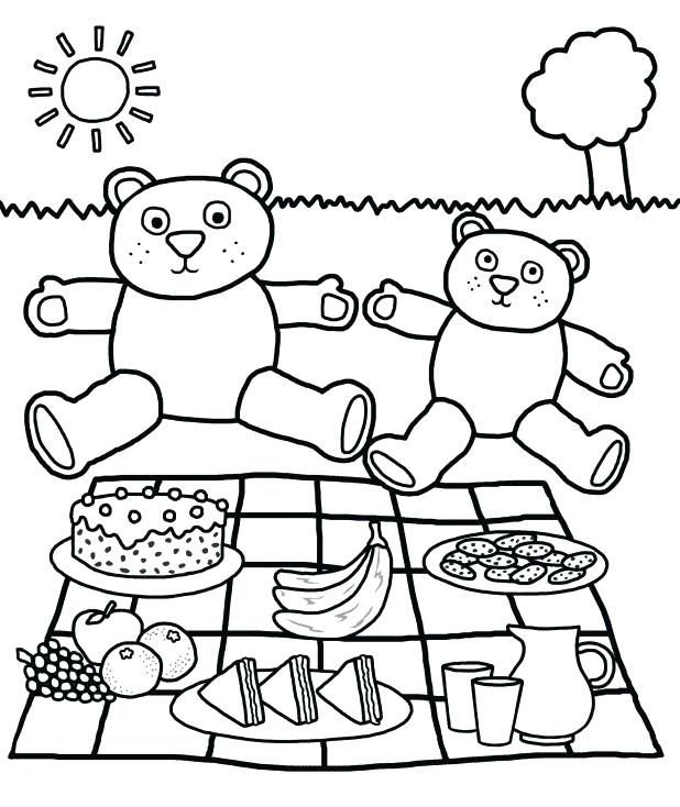 618x734 Picnic Coloring Pages Picnic Coloring Pages Spring Page Of Four