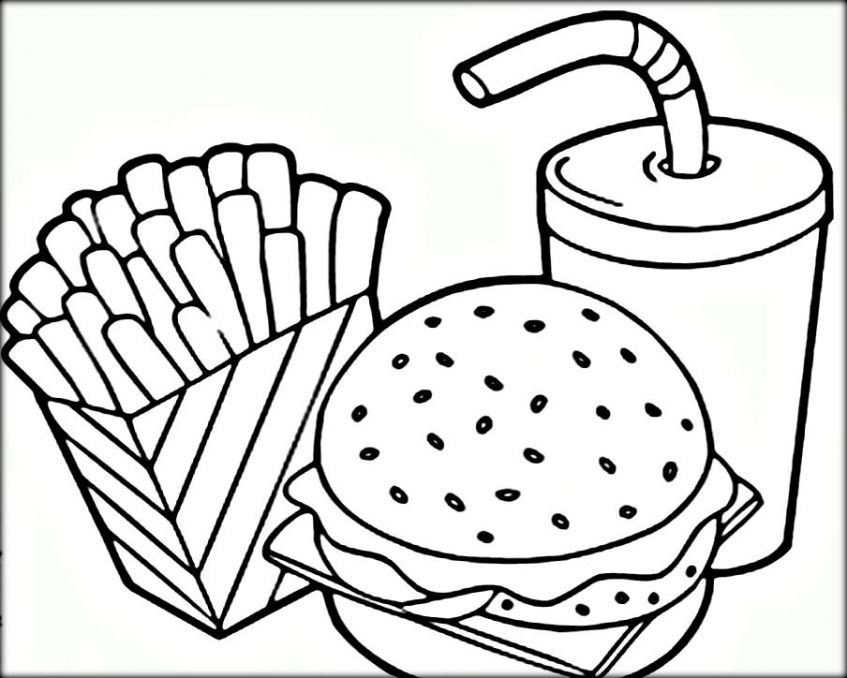 847x678 Picnic Food Coloring Page On Food Coloring Pages