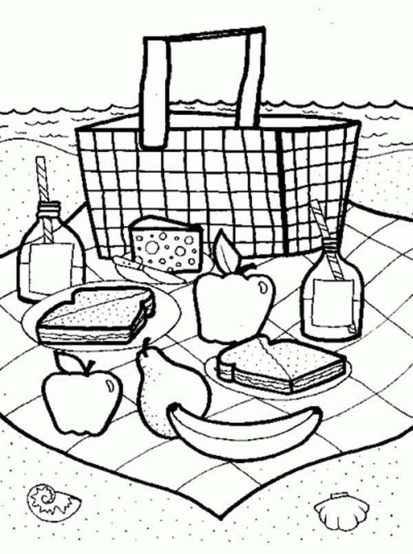 600x804 Picnic Coloring Pages To Download And Print For Free, Picnic Food