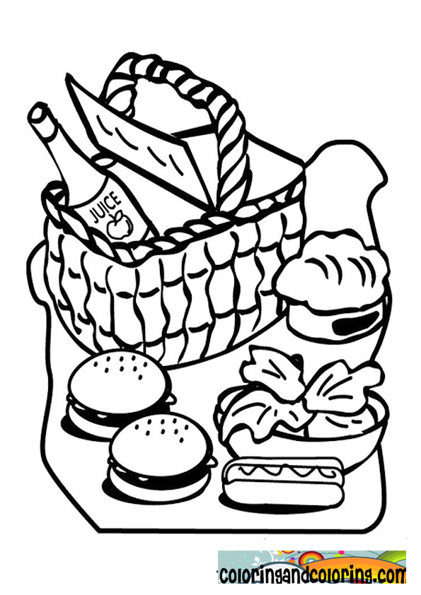 595x842 Picnic Food Coloring Coloring And Coloring Pages, Picnic Food