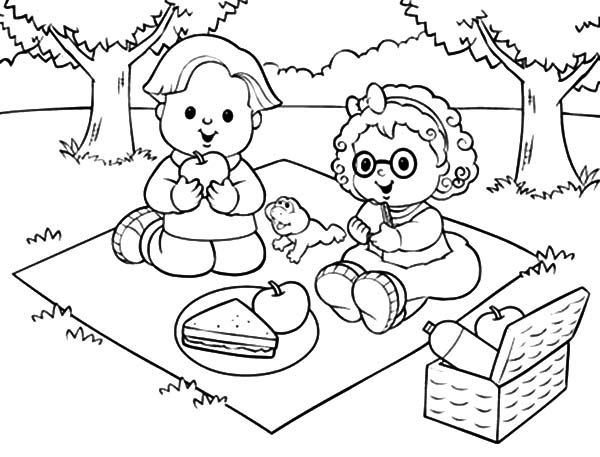 600x457 Family Picnic Coloring Pages For Picnic Coloring Pages