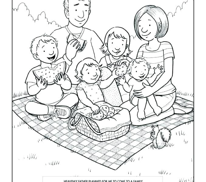 678x600 Picnic Coloring Page Family Coloring Pages Good Family Coloring