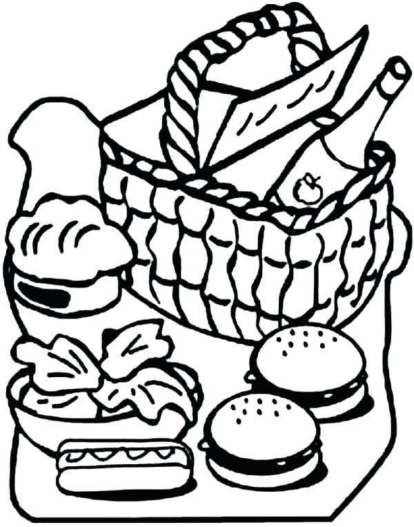 600x763 Picnic Coloring Page Picnic Coloring Pages Pack For A Picnic