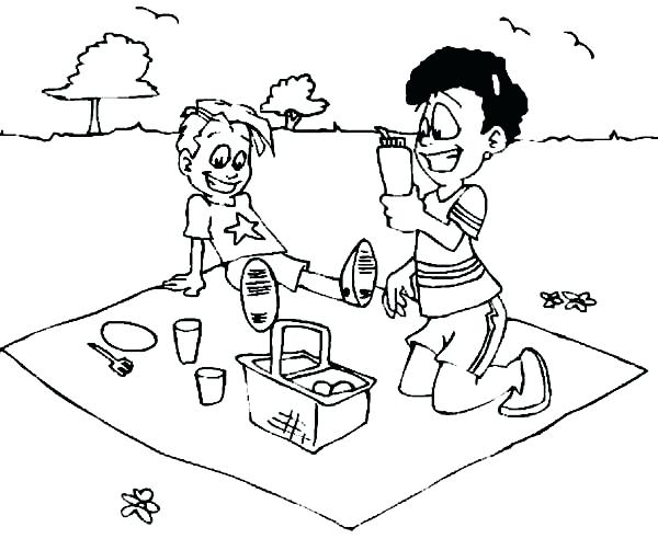 600x502 Picnic Coloring Page Two Kid Drink On Summer Picnic Coloring Page