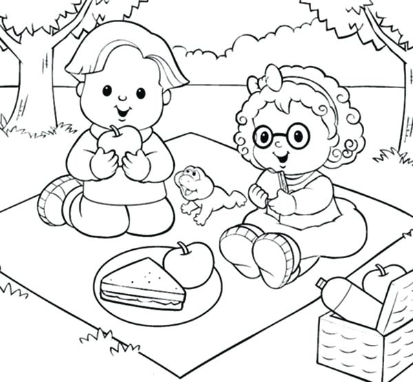 600x555 Picnic Coloring Pages Little People Picnic With Friend Coloring