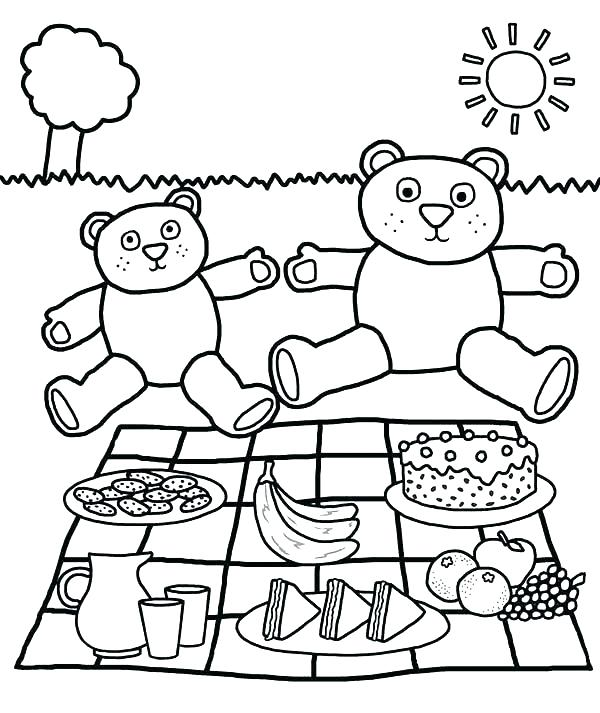 600x713 Picnic Coloring Pages Picnic Coloring Pages Teddy Bears Picnic