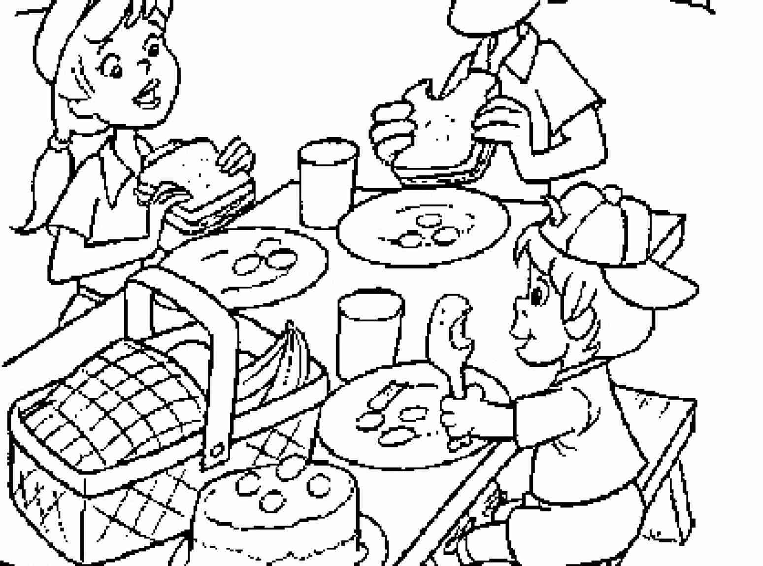 1549x1149 Picnic Coloring Pages To Download And Print For Free Beauteous