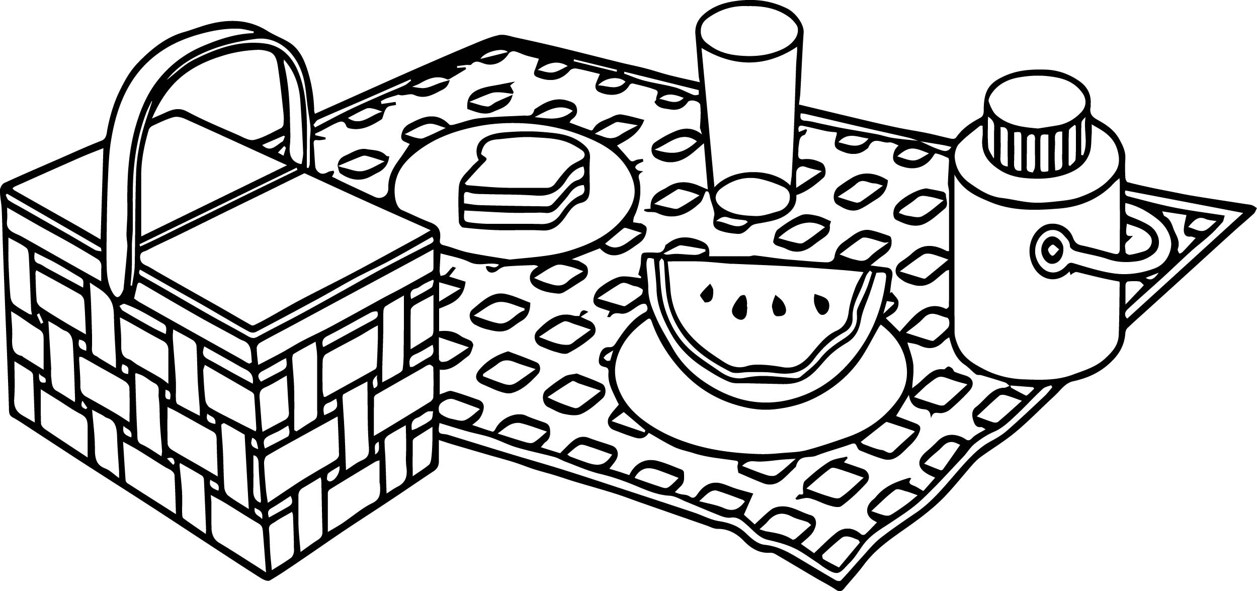 2499x1175 Picnic Coloring Pages With Table Page