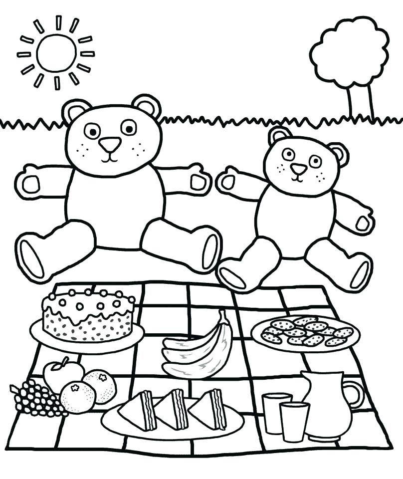 808x960 Picnic Table Cloth Coloring Page Teddy Bear Pages