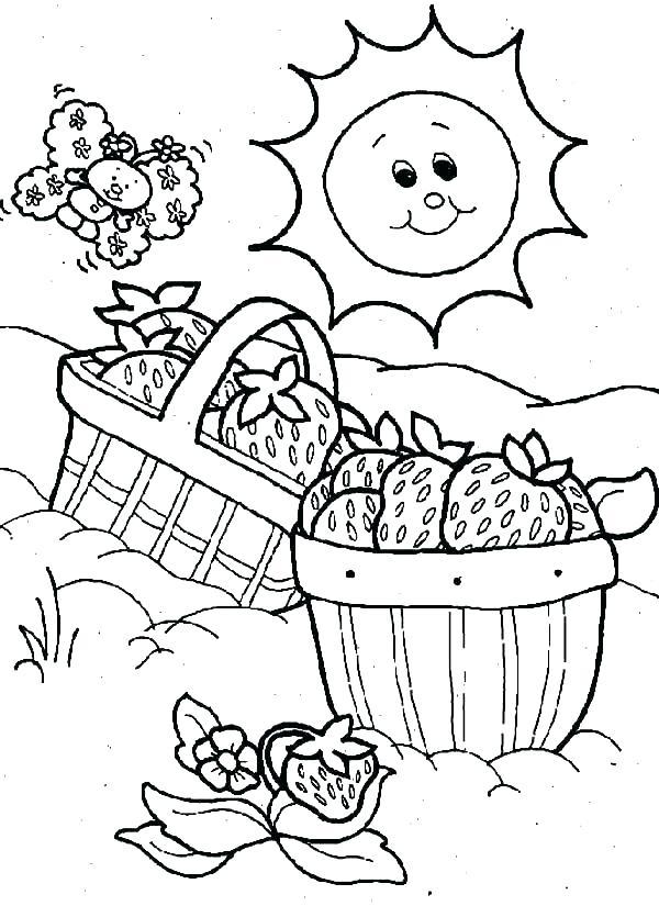 600x825 Strawberry Shortcake Printable Coloring Pages Picnic Basket