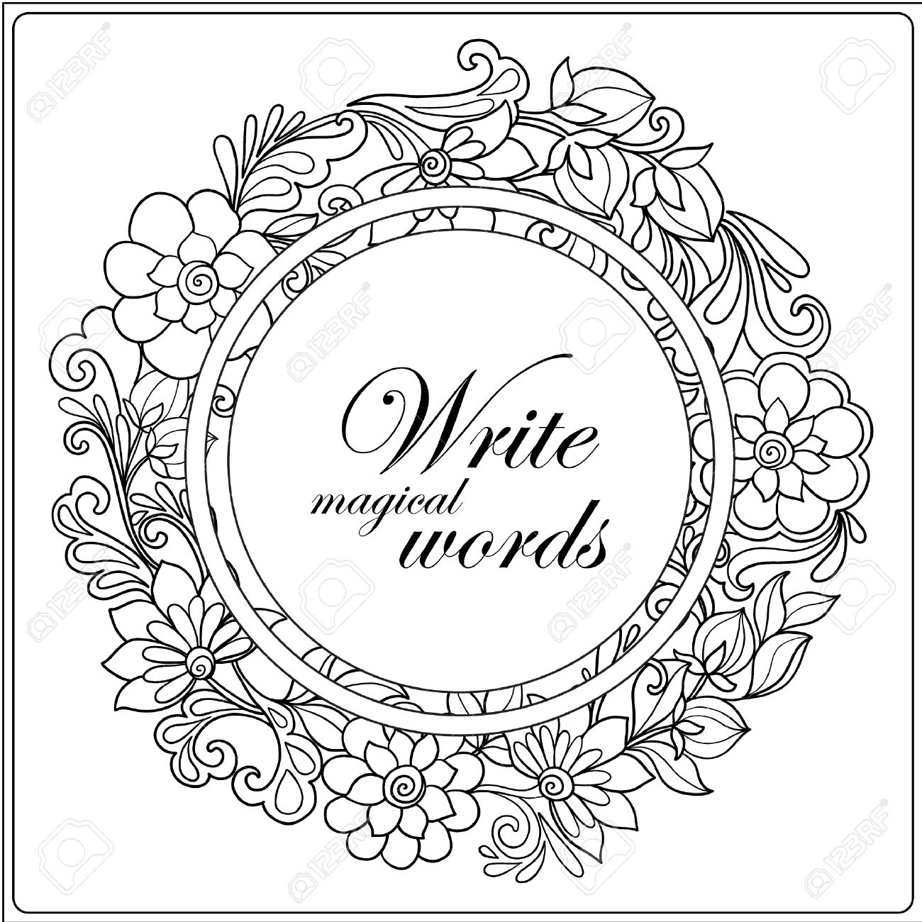 1300x1300 Picture Frame Coloring Page
