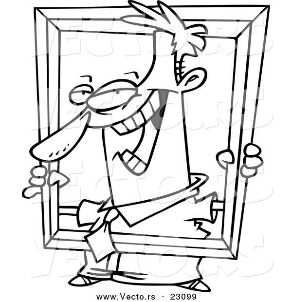 600x620 Vector Of A Cartoon Businessman Holding Up A Frame