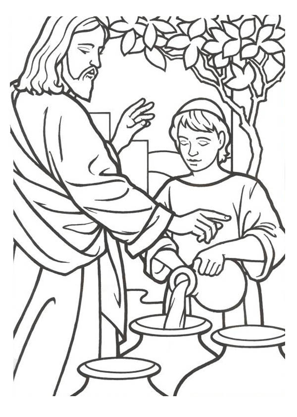 600x841 Pictures Into Coloring Pages Jesus Turns Water Into Wine Coloring