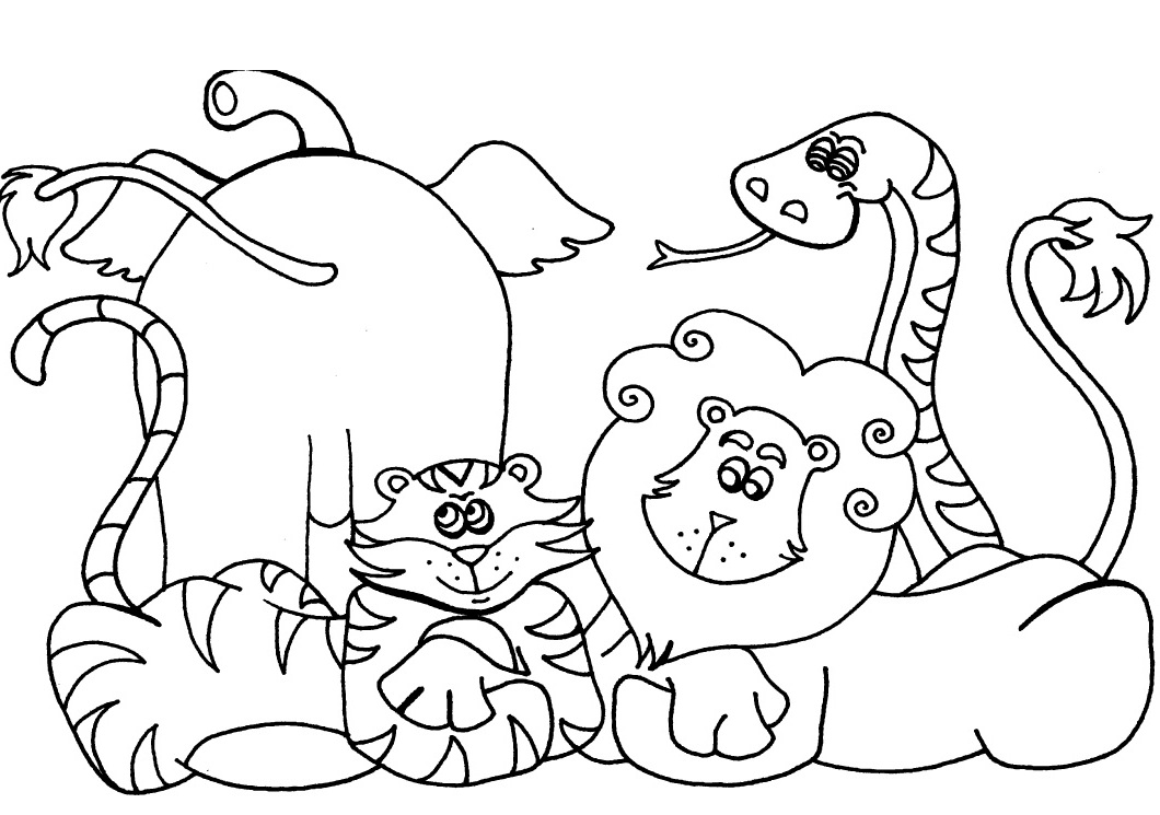 1060x745 African Animals Coloring Pages