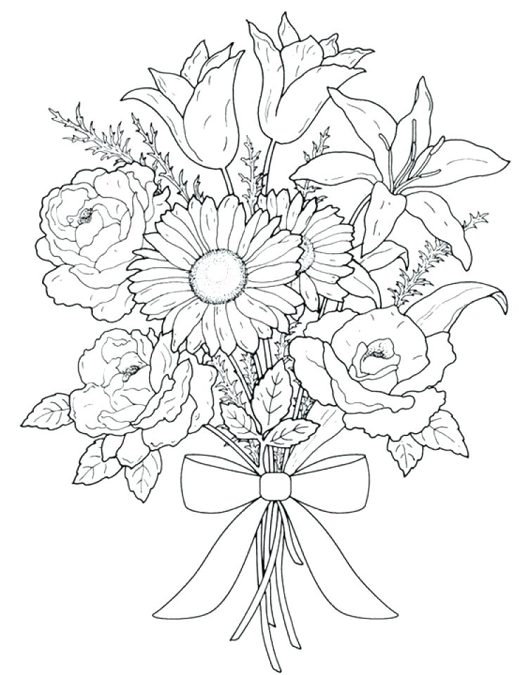 Pictures Of Flowers Coloring Pages At Getdrawings Com Free For