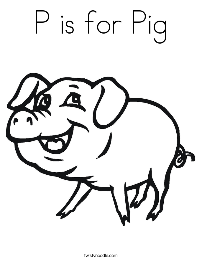 685x886 P Is For Pig Coloring Page