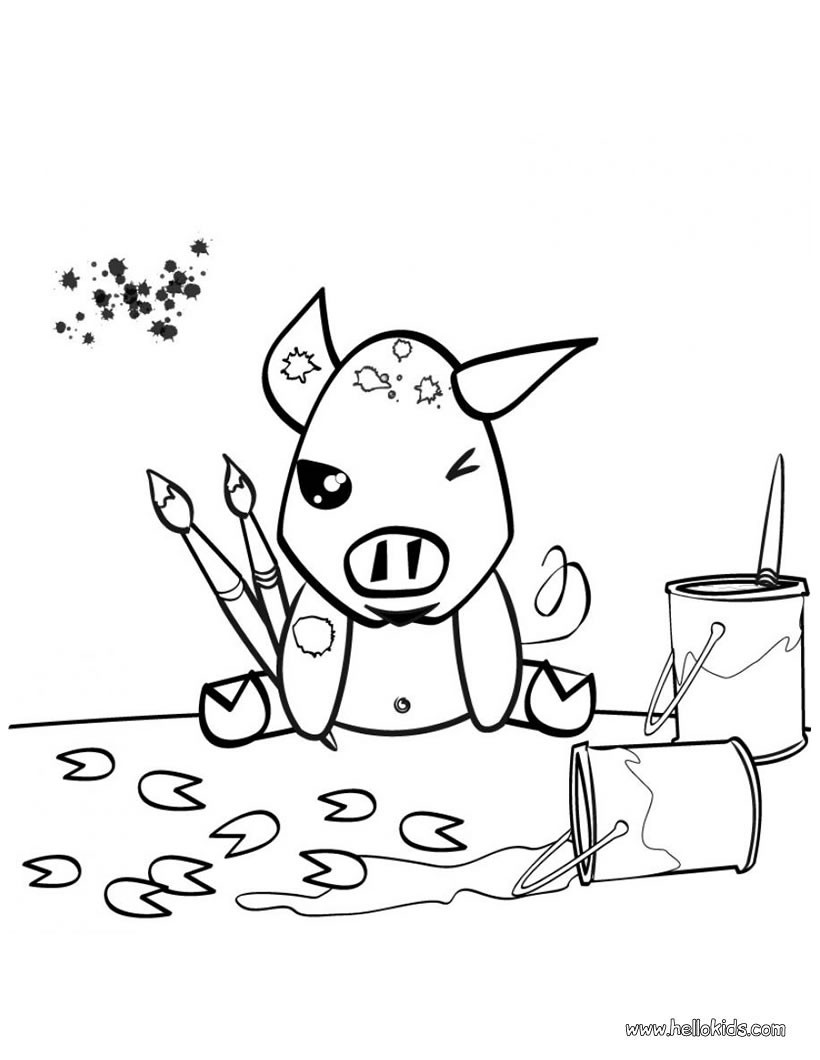 820x1060 Painting Pig Coloring Pages
