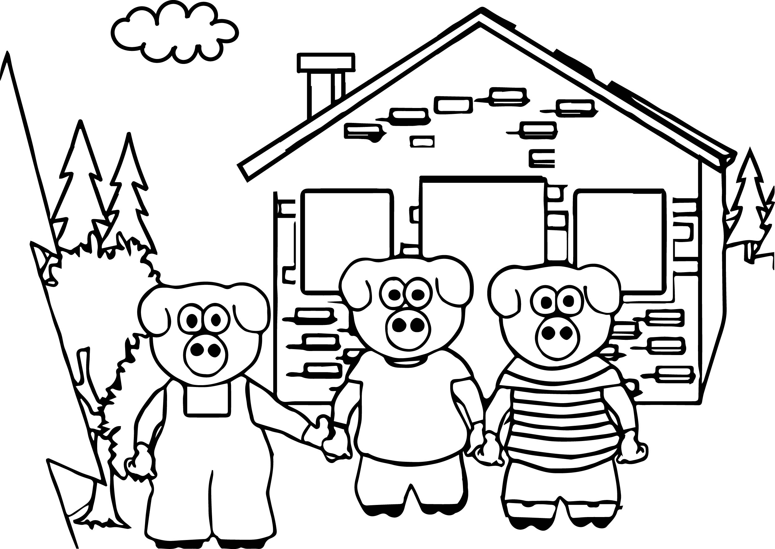 2496x1769 Coloring Pages Little Pigs Coloring Page