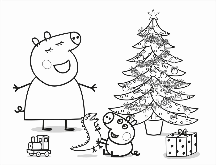 915x701 Peppa Pig Coloring Pages And Sheets Christmas Colouring Pages Free