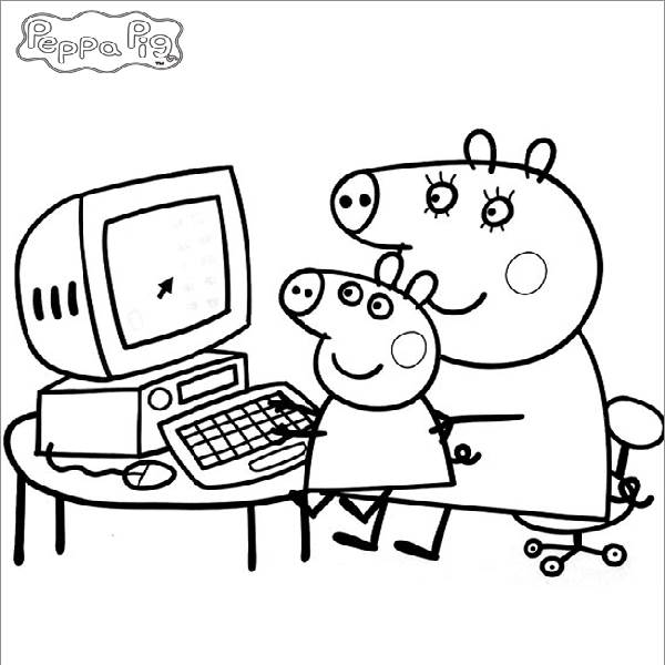 600x600 Peppa Pig Coloring In Pages Peppa Coloring Pages