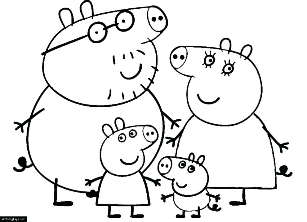 990x718 Family Coloring Page Pig Happy Family Coloring Page Family Free