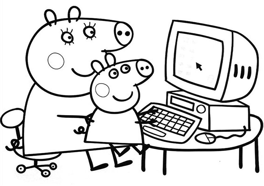 842x595 Peppa Pig Coloring In Pages Free Coloring Pages