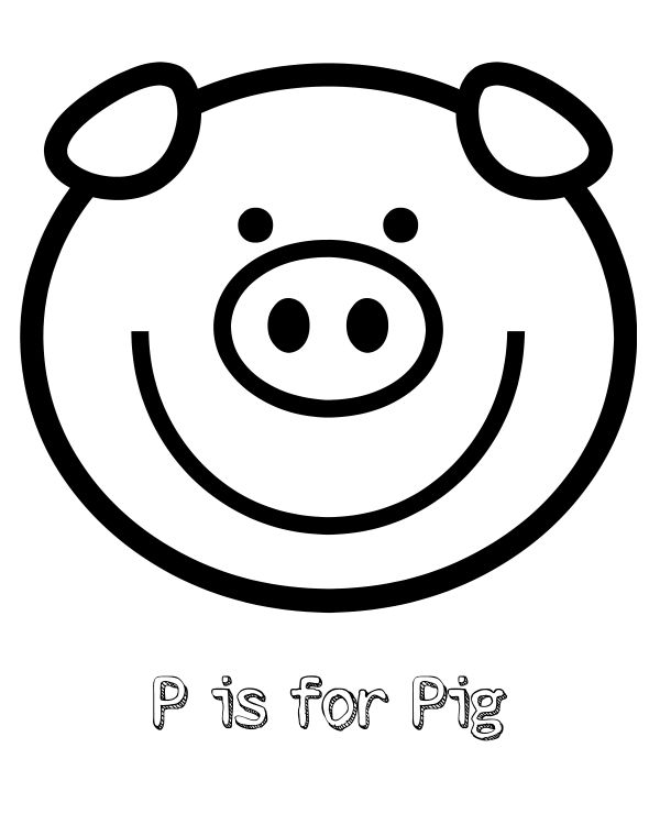 600x750 Free Printable P Is For Pig Coloring Page Kids